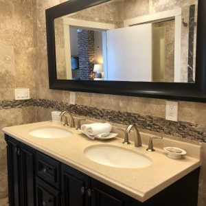 Double sink vanity in the Point View Suite